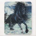 """Friesian Storm"" black stallion, cartooned Mousepad"