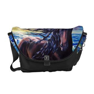 """Friesian Sunrise"" black stallion horse in sea Commuter Bags"