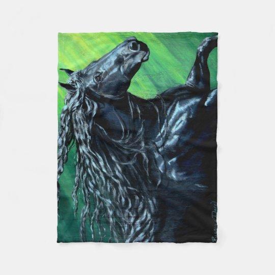 Friesian, The black beauty stallion, running Fleece Blanket