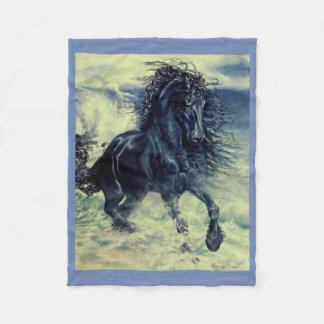 Friesian, The black beauty stallion, stormy sea Fleece Blanket