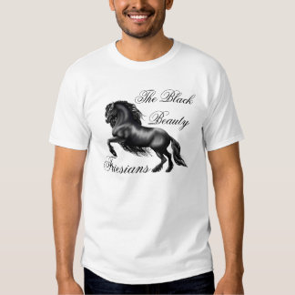 Friesians, black letter tee shirts