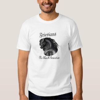 Friesians, the black beauties, stallion horse t-shirts