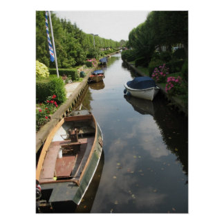 Friesland Canal with Row Boats Photo Poster