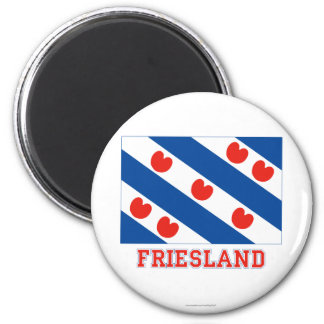 Friesland Flag with name 6 Cm Round Magnet
