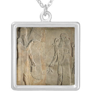Frieze depicting a winged spirit silver plated necklace
