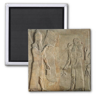 Frieze depicting a winged spirit square magnet