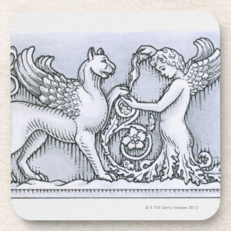 Frieze depicting mythical winged animal and coaster