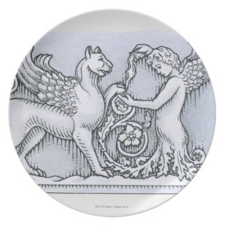 Frieze depicting mythical winged animal and plate