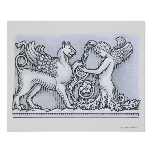 Frieze depicting mythical winged animal and posters