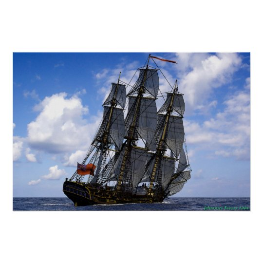 frigate sailing under blue sky poster