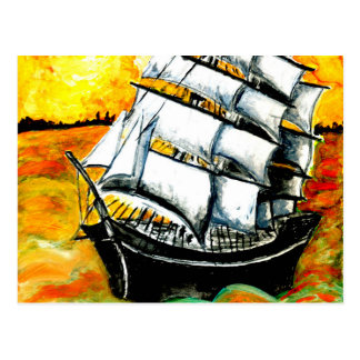 Frigate Ship at Sunset Postcard