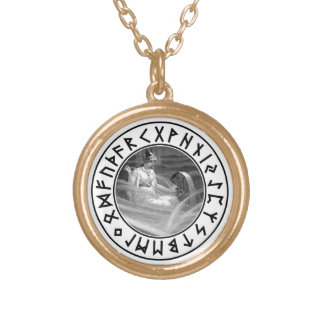 Frigg Rune Shield Round Pendant Necklace