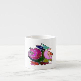 Frigga Pink Blue Spirals White Espresso Mug Pink