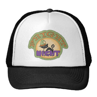 Fright Night Black Cat Cute Halloween Trucker Hats