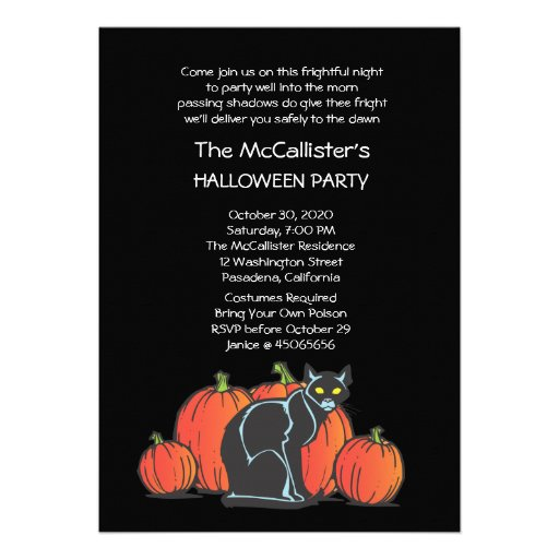 Fright Night Black Cat Halloween Costume Party Personalized Announcement
