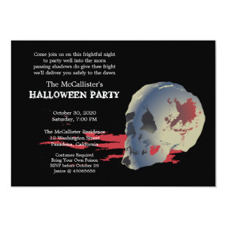 Fright Night Skull Halloween Costume Party Card