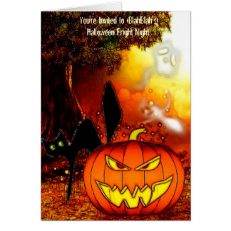 Fright Nights Halloween Party Invite Note Card