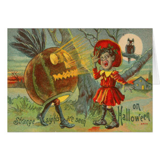 Frightened Child Owl Full Moon Jack O' Lantern Greeting Card