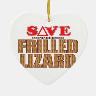 Frilled Lizard Save Ceramic Heart Decoration