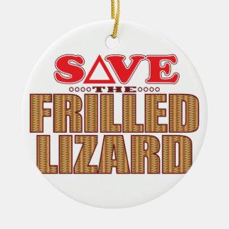 Frilled Lizard Save Round Ceramic Decoration