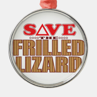 Frilled Lizard Save Silver-Colored Round Decoration