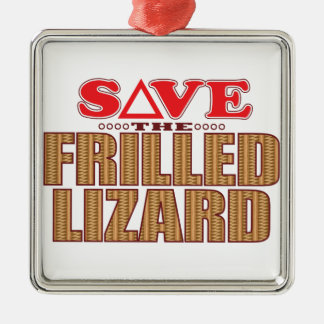 Frilled Lizard Save Silver-Colored Square Decoration