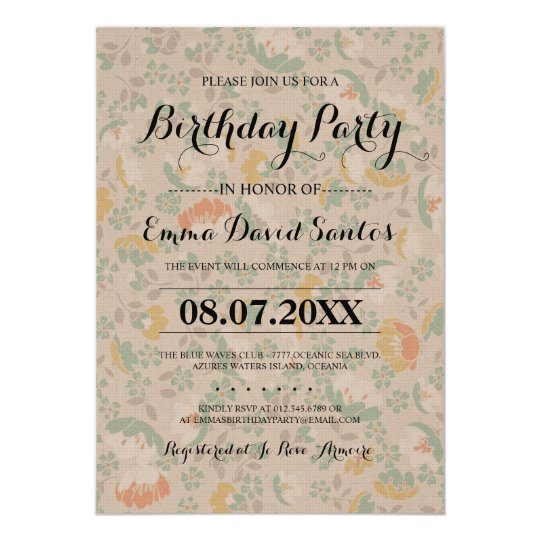 Frilly Floral Birthday Party Invites