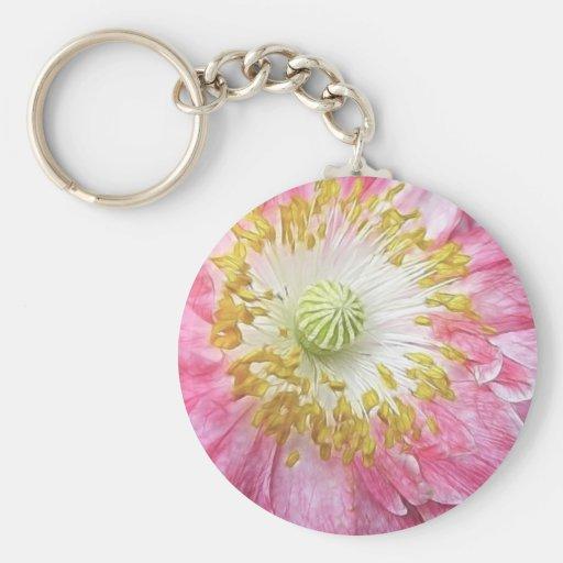 Frilly Pink Poppy Key Chains