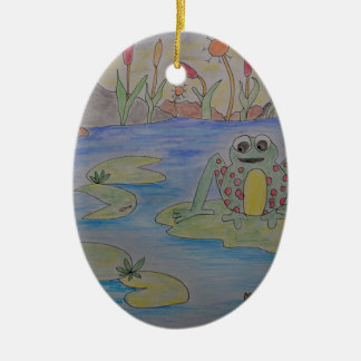 Frippy the Frog eyeing up his lunch Ceramic Oval Decoration