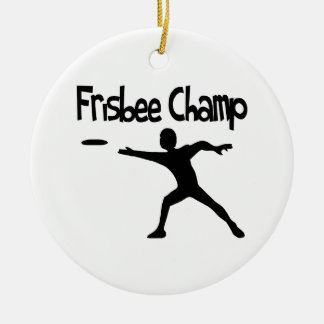 Frisbee Champ Double-Sided Ceramic Round Christmas Ornament