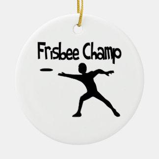 Frisbee Champ Round Ceramic Decoration