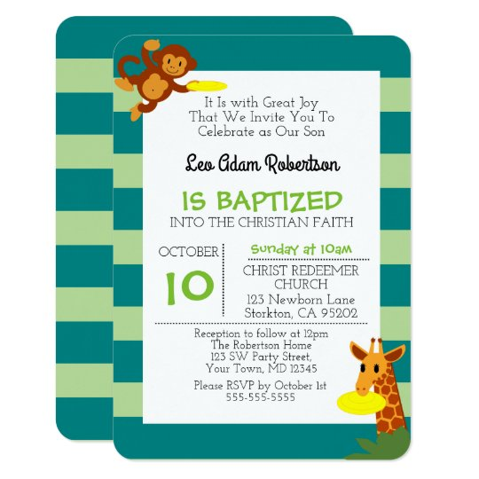 Frisbee Jungle Monkey Personalised Small Baptism Card