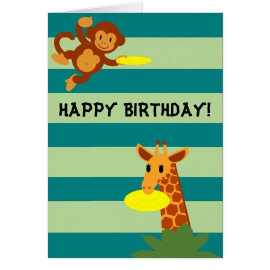 Frisbee Jungle Personalised Birthday Card