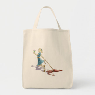 Frisky the Squid Goes for a Walk Tote Grocery Tote Bag