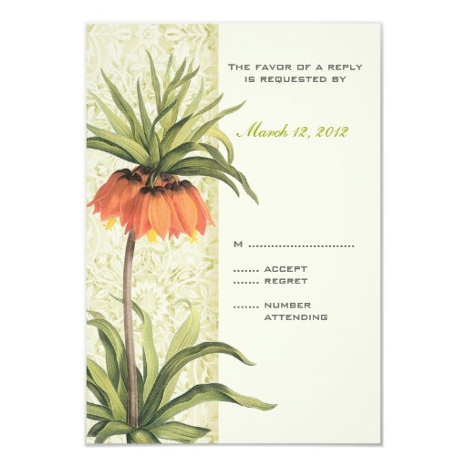 Fritillaria Floral Wedding Invitation RSVP 2
