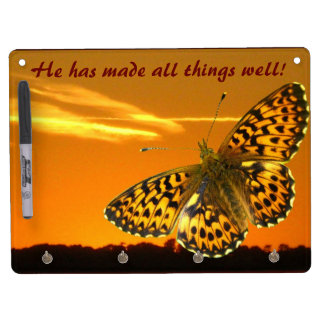 Fritillary and sunset dry erase board with key ring holder