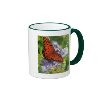 Fritillary Butterfly, Blue FLowers Ringer Mug