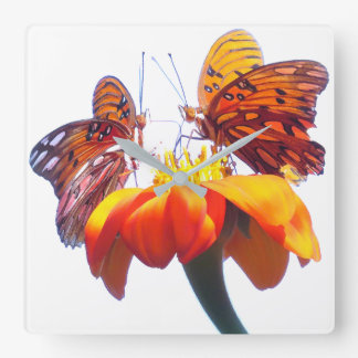 Fritillary Butterfly Flowers Floral Animals Clock