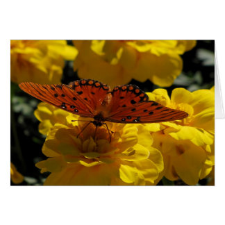 Fritillary butterfly, Yellow Geraniums Greeting Card