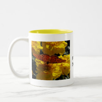 Fritillary butterfly, Yellow Geraniums Two-Tone Coffee Mug