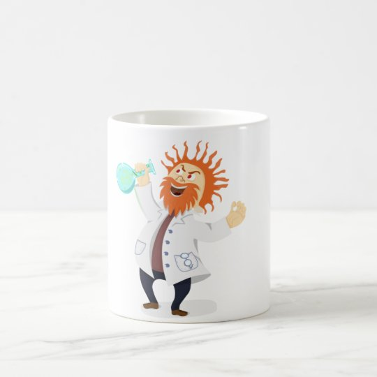 Frizzy Haired Cartoon Mad Scientist Holding Beaker Coffee