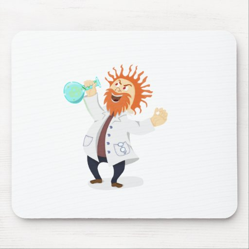 Frizzy Haired Cartoon Mad Scientist Holding Beaker Mouse Pad