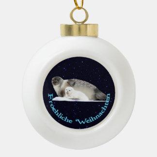 Froehliche Weihnachten - Ringed Seal Ceramic Ball Decoration