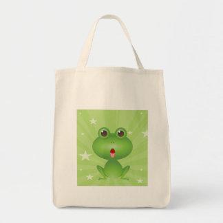 Frog Amphibian Green Frogs Cute Cartoon Animal Grocery Tote Bag