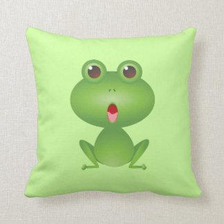 Frog Amphibian Green Frogs Cute Cartoon Pillow