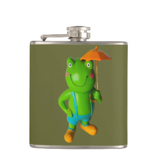 Frog and Brolly Hip Flask