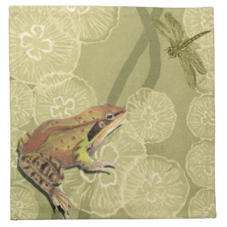Frog and Dragonfly on Water Lilies Napkin