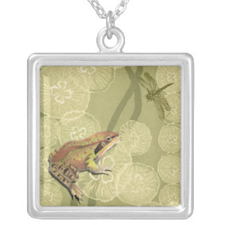 Frog and Dragonfly on Water Lilies Silver Plated Necklace