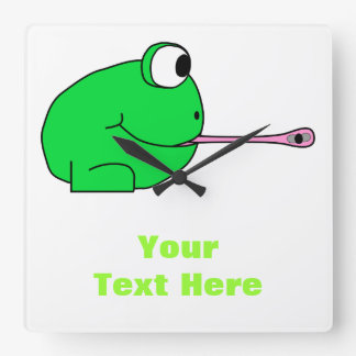 Frog and Fly. Square Wall Clock