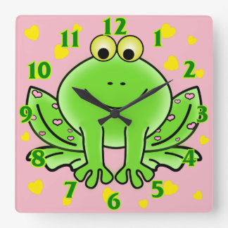 Frog and hearts cute animal nursery kids room square wall clock